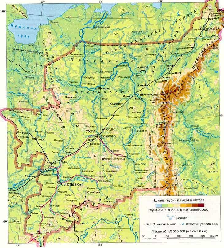 Физическая карта Республики Коми: http://kominarod.narod.ru/about/about8.htm
